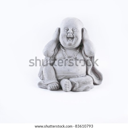 A small statue isolated on a white background