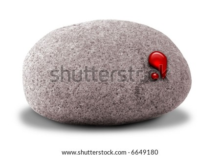 A small stone with a drop of blood coming out of it representing the idiom, getting blood out of a stone. Isolated on a white background with room for text