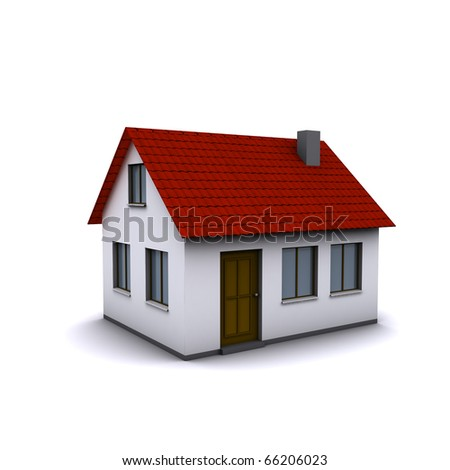 A small three-dimensional house with red roof on a white background.