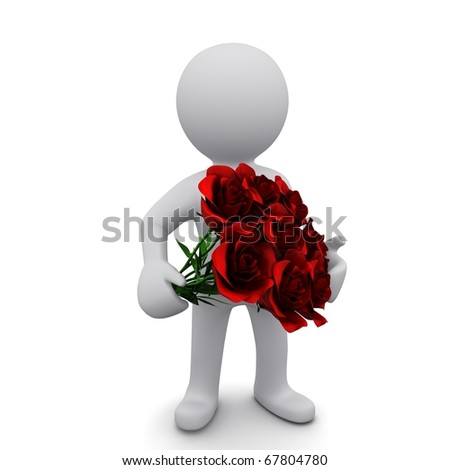 """A small three-dimensional people with a bouquet of red roses in their hands. Series """"3D MAN"""""""