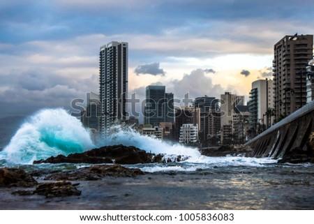 A small tsunami strickes the city