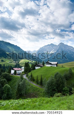 A small village in the austrian alps at the Kleinwalsertal