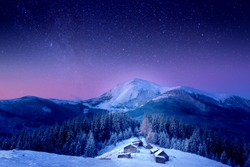 A small village in the Carpathian Mountains, fabulous views, new year's Christmas look, the Milky Way, behind Petros Mountain, Ukraine, Carpathian Mountains