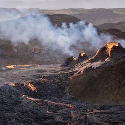 A small volcanic eruption in Geldingadalir valleys in Mt Fagradalsfjall, Southwest Iceland, only about 30 km away from the capital of Reykjavík.