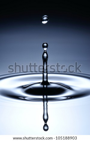A small water drop fall on water surface and jump back before the second one to collide with it.