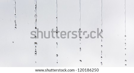 A small water drop falling from the roof in the rain - Venezuela