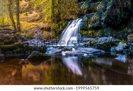 A small waterfall in the autumn forest. Forest waterfall view. Waterfall in forest