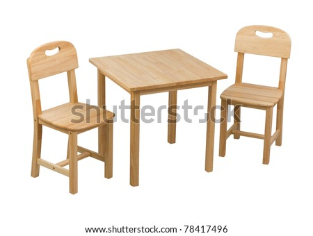A Small Wooden Chairs And Desk For Kids Stock Photo 78417496 ...