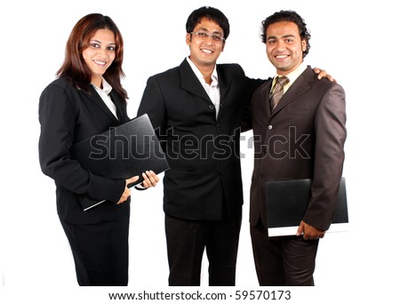 A smart Indian business team happy after a successful presentation, isolated on white studio background.