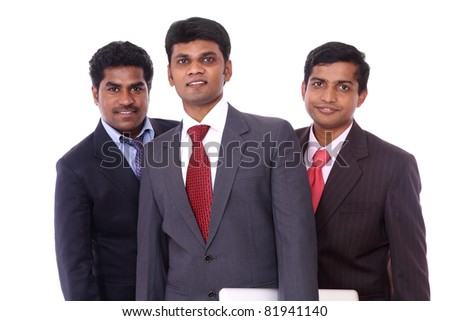 A smart Indian business team isolated on white.