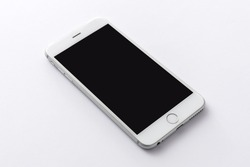 A smart phone with screen on the white background.