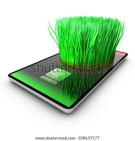 A smartphone application is growing grass. Ecological concept.