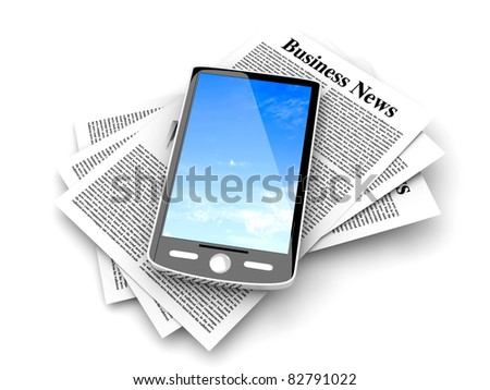A smartphone in the latest business news. 3d rendered Illustration. Isolated on white.