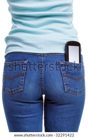 A smartphone in the rear pocket of a womans jeans, blank screen with clipping path for you to add your own message or design,