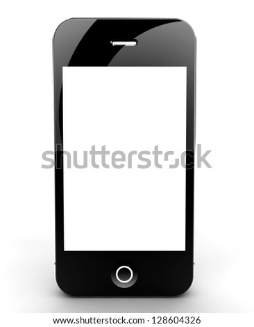 A smartphone isolated on a white background with white screen for your copyspace