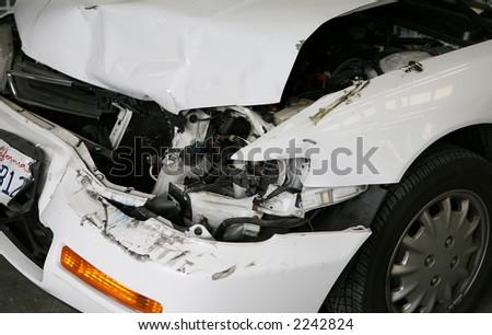 A smashed car after a car accident