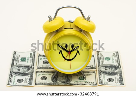 A smiley face clock cap with hundred dollar bills on a beige background, increased education costs