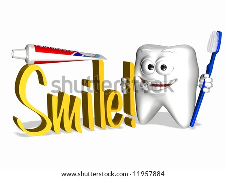 A smiley tooth holding a toothbrush and the word Smile in 3D.