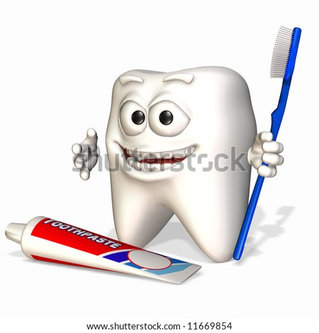 A smiley tooth holding a toothbrush with a tube of toothpaste.
