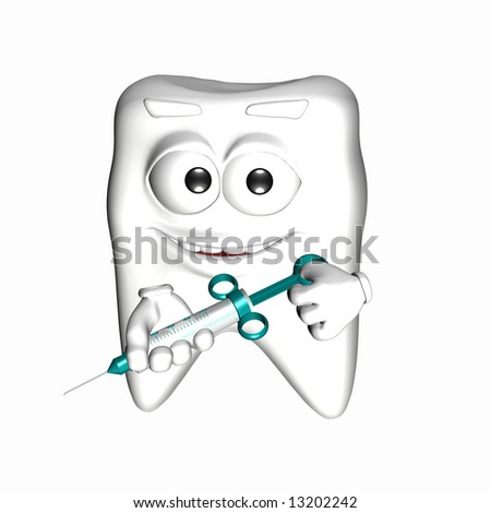 A smiley tooth with an happy face holding a syringe. Isolated on a white background