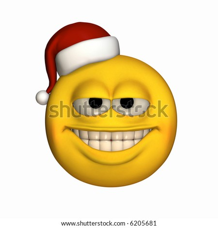 A smiley wearing a small Santa hat. Isolated on a white background.