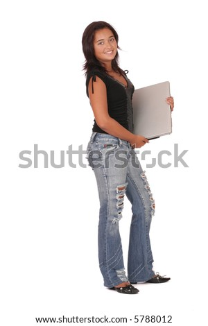 a smiling asian woman with a laptop standing on white background
