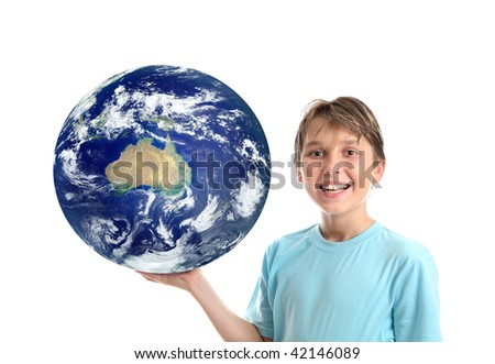 A smiling, boy holding our planet earth in the palm of his hand.   Earth showing mainly Australia,   Concept, science education, environmental issues, travel destinations, asia pacific, oceania, etc