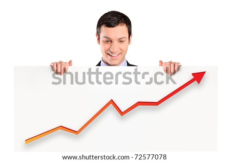 A smiling businessman holding a white panel with a growth graph isolated on white background