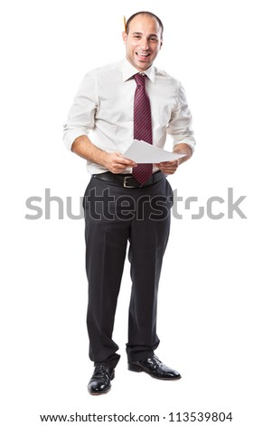 a smiling businessman with papers and a pencil