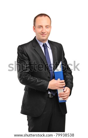 A smiling businessperson holding a folder with documents isolated against white background