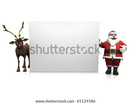 A smiling cartoon Santa Claus standing beside a big blank sign. On the other side of the sign is the reindeer. White background.