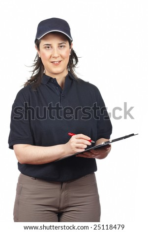 A smiling courier woman writing isolated on white background