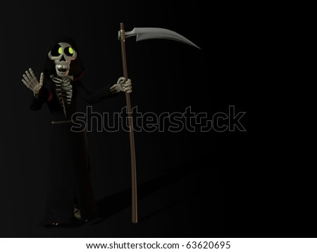 A smiling funny cartoon skeleton dressed as the grim reaper, holding a scythe and waving at you. - stock photo