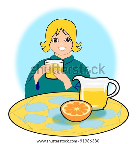 A smiling girl holding a glass, and  a picher of orange juice.