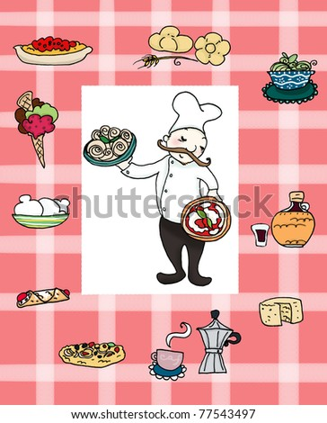 A smiling italian chef with many famous italian foods. Digital illustration