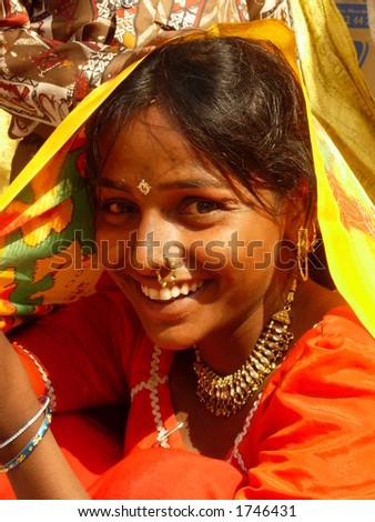 a smiling maiden in indian village