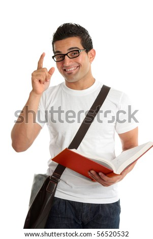 A smiling male university or college student with a question or answer.  He is holding an open textbook.  White background.