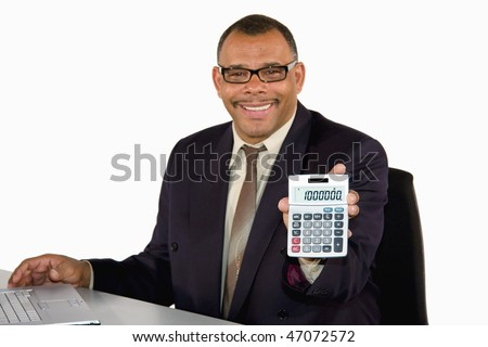 a smiling mature African-American businessman holding a pocket calculator showing the sum of one million, isolated on white background