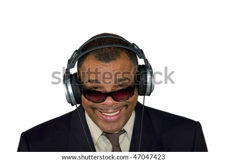 a smiling mature African-American man with sunglasses and headphones, isolated on white background