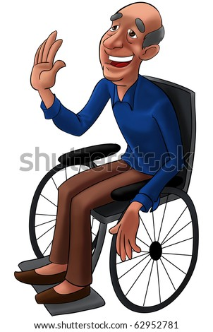A smiling old man with blue shirt seated in a wheelchair
