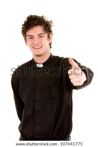 A smiling priest with a thumbs up sign, isolated on white