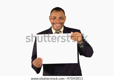 a smiling senior African-American businessman presenting a picture board with copy space, isolated on white background