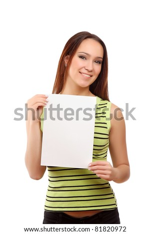A smiling woman holds an empty blank, isolated on white