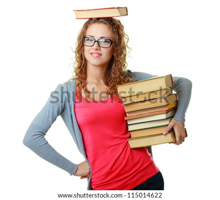 A smiling woman in glasses holding books, isolated on white