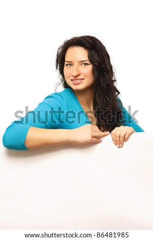A smiling woman with a blank