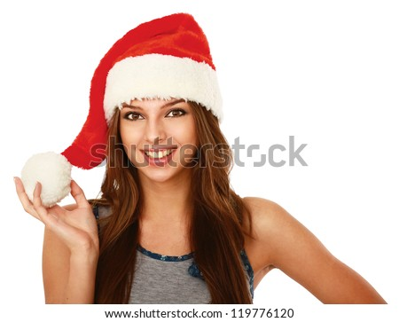 A smiling young woman in a Christmas hat, isolated on white background