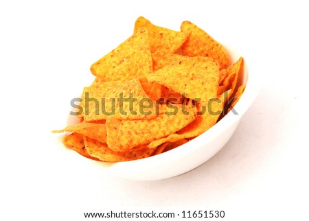 A snack bowl full of spicy Nachos isolated on white background