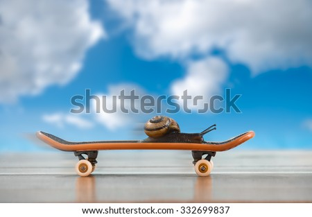 A snail on a skateboard, moving fast with sky in background