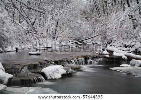 A Snow Covered Little Creek And Waterfall In Winter, Keehner Park, Southwestern Ohio