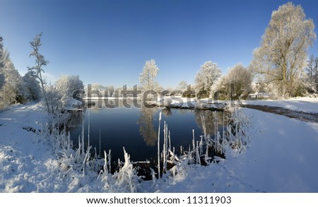 A snow covered rural landscape in the countryside